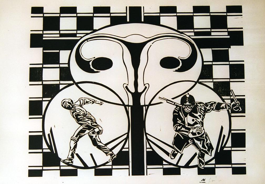 Une nouvelle vie - Linogravure - 100x70 - Didier Angels