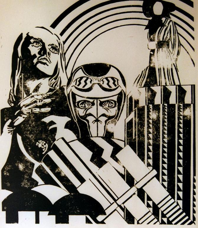 La femme sans visage - Linogravure - 100x70 - Didier Angels