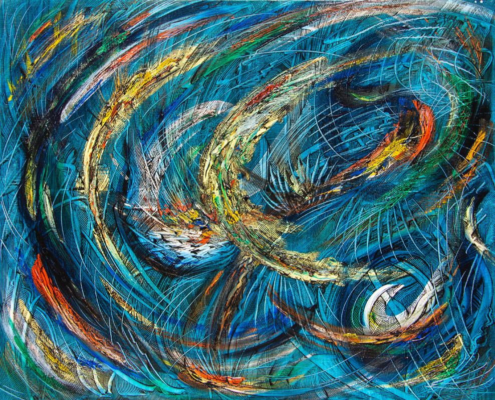 Bleu Infini - Peinture Acrylique - 100x73 - Didier Angels
