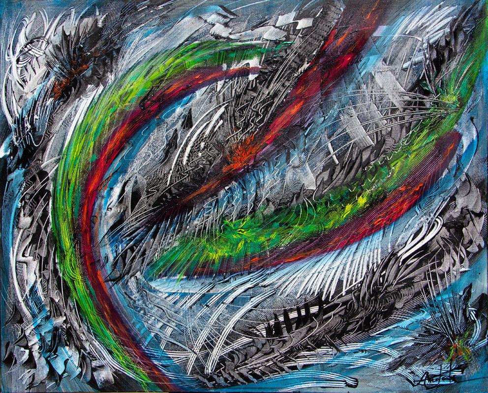 Le-Cygne-Peinture Acrylique - 100x73 -Didier Angels