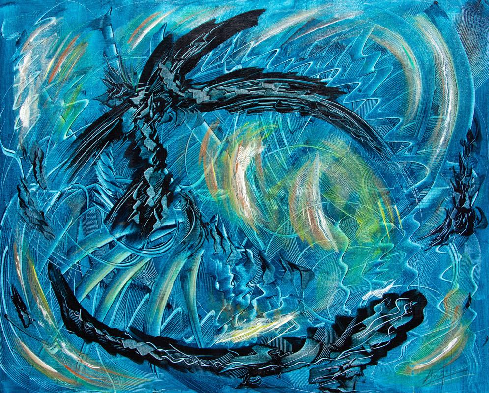Le Danube Bleu - Peinture Acrylique - 100x73 - Didier Angels