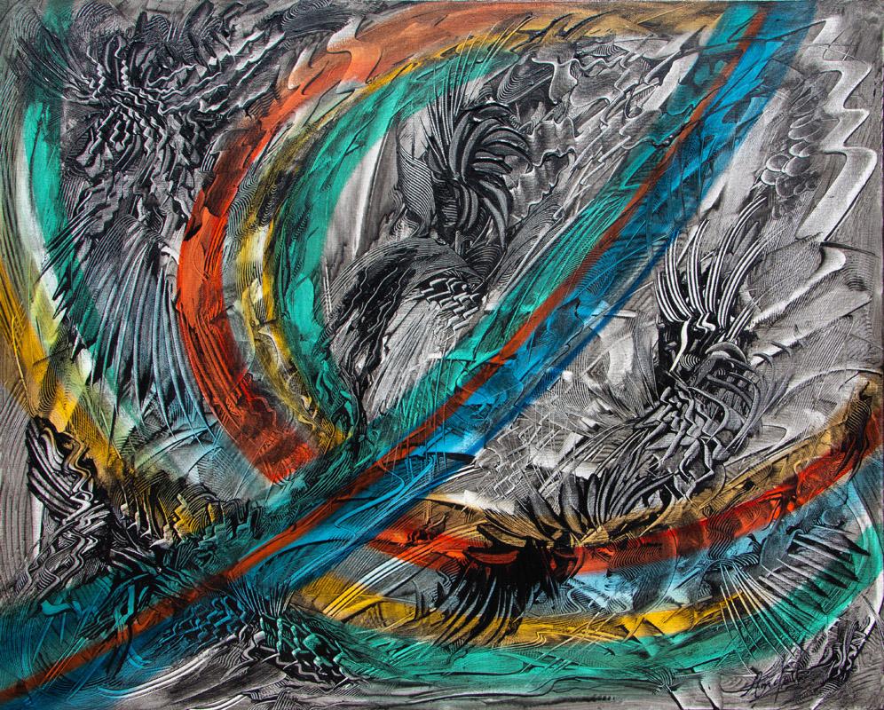 L'Arc en ciel Tumultueux - Peinture Acrylique - 100x73 - Didier-Angels